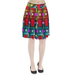 Art Rectangles Abstract Modern Art Pleated Skirt