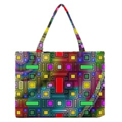 Art Rectangles Abstract Modern Art Medium Zipper Tote Bag