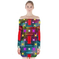 Art Rectangles Abstract Modern Art Long Sleeve Off Shoulder Dress