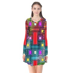 Art Rectangles Abstract Modern Art Flare Dress