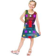 Art Rectangles Abstract Modern Art Kids  Tunic Dress