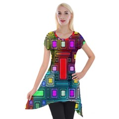 Art Rectangles Abstract Modern Art Short Sleeve Side Drop Tunic