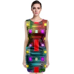 Art Rectangles Abstract Modern Art Sleeveless Velvet Midi Dress