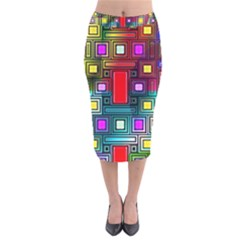 Art Rectangles Abstract Modern Art Velvet Midi Pencil Skirt