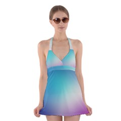 Background Blurry Template Pattern Halter Swimsuit Dress