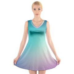 Background Blurry Template Pattern V-Neck Sleeveless Skater Dress
