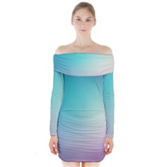 Background Blurry Template Pattern Long Sleeve Off Shoulder Dress