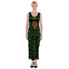 Tulips In The Night Of Stars Fitted Maxi Dress