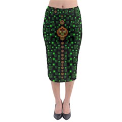 Tulips In The Night Of Stars Midi Pencil Skirt