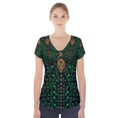 Tulips In The Night Of Stars Short Sleeve Front Detail Top
