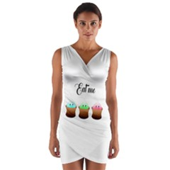 Eat Me Cupcakes Wrap Front Bodycon Dress