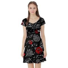 Red mind Short Sleeve Skater Dress