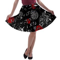 Red mind A-line Skater Skirt