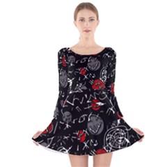 Red mind Long Sleeve Velvet Skater Dress