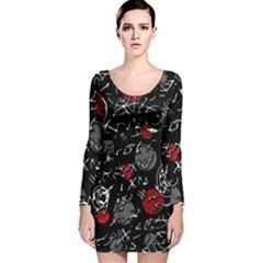 Red mind Long Sleeve Velvet Bodycon Dress