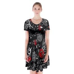 Red mind Short Sleeve V-neck Flare Dress