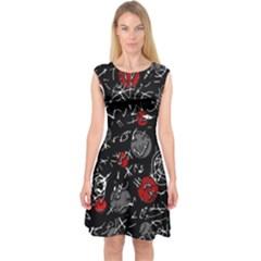 Red mind Capsleeve Midi Dress