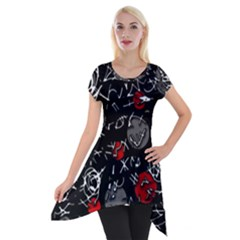 Red mind Short Sleeve Side Drop Tunic