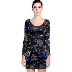 Blue mind Long Sleeve Bodycon Dress