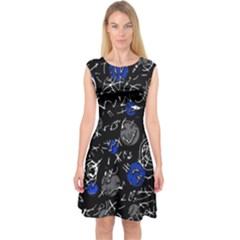 Blue mind Capsleeve Midi Dress