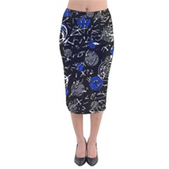 Blue mind Velvet Midi Pencil Skirt