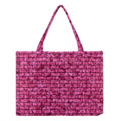 Brick1 Black Marble & Pink Marble (r) Medium Tote Bag