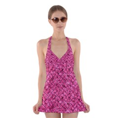 BRK2 BK-PK MARBLE (R) Halter Swimsuit Dress