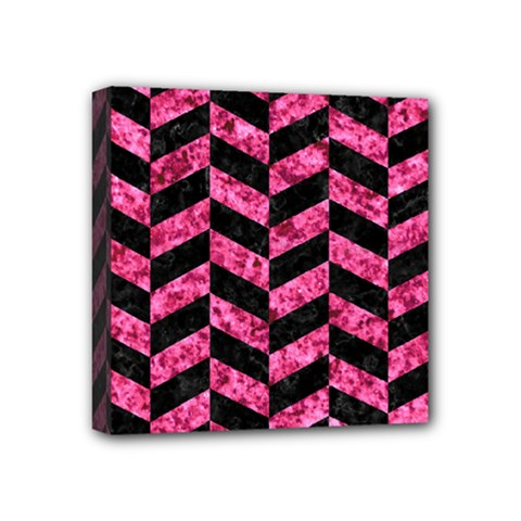 Chevron1 Black Marble & Pink Marble Mini Canvas 4  X 4  (stretched)