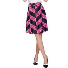 CHV1 BK-PK MARBLE A-Line Skirt
