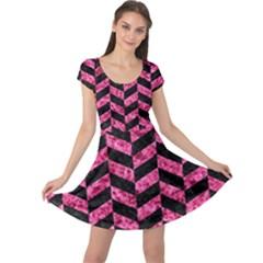 CHV1 BK-PK MARBLE Cap Sleeve Dresses
