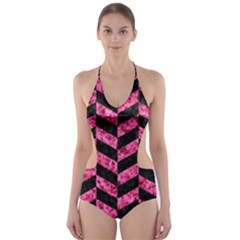 CHV1 BK-PK MARBLE Cut-Out One Piece Swimsuit