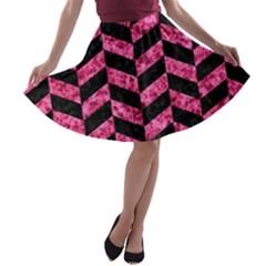 CHV1 BK-PK MARBLE A-line Skater Skirt