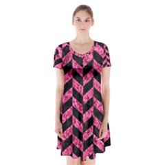 CHV1 BK-PK MARBLE Short Sleeve V-neck Flare Dress