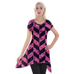 Chevron1 Black Marble & Pink Marble Short Sleeve Side Drop Tunic