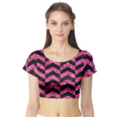 CHV2 BK-PK MARBLE Short Sleeve Crop Top (Tight Fit)