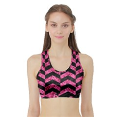CHV2 BK-PK MARBLE Sports Bra with Border