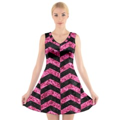 CHV2 BK-PK MARBLE V-Neck Sleeveless Skater Dress