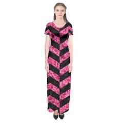 CHV2 BK-PK MARBLE Short Sleeve Maxi Dress