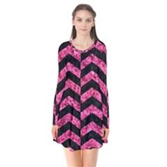 Chevron2 Black Marble & Pink Marble Long Sleeve V Neck Flare Dress