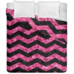 Chevron3 Black Marble & Pink Marble Duvet Cover Double Side (california King Size)