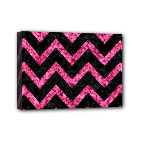 Chevron9 Black Marble & Pink Marble Mini Canvas 7  X 5  (stretched)