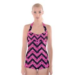 CHV9 BK-PK MARBLE (R) Boyleg Halter Swimsuit