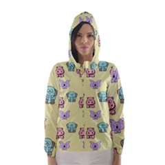 Animals Pastel Children Colorful Hooded Wind Breaker (Women)