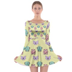 Animals Pastel Children Colorful Long Sleeve Skater Dress