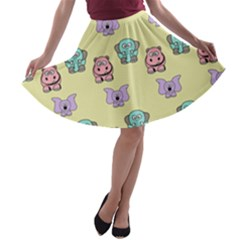 Animals Pastel Children Colorful A-line Skater Skirt