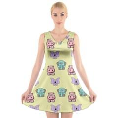 Animals Pastel Children Colorful V-Neck Sleeveless Skater Dress