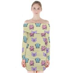 Animals Pastel Children Colorful Long Sleeve Off Shoulder Dress