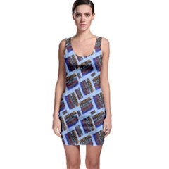 Abstract Pattern Seamless Artwork Sleeveless Bodycon Dress