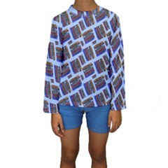 Abstract Pattern Seamless Artwork Kids  Long Sleeve Swimwear