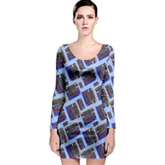 Abstract Pattern Seamless Artwork Long Sleeve Bodycon Dress